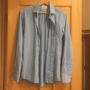 Slim fit blue and white checkered button down